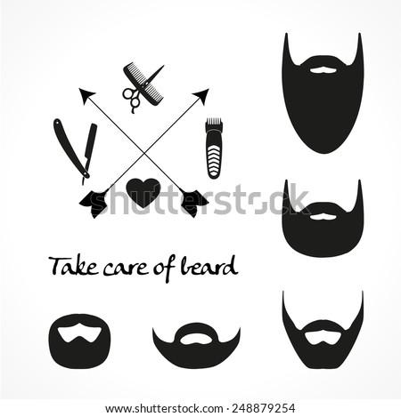 Set of beard silhouettes - stock vector