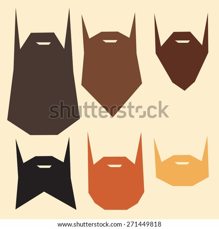 Set of beard silhouettes colorful hipster - stock vector