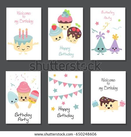 Set beautiful birthday invitation cards decorated stock vector set of beautiful birthday invitation cards decorated with birthday cakes and sweets set with birthday filmwisefo