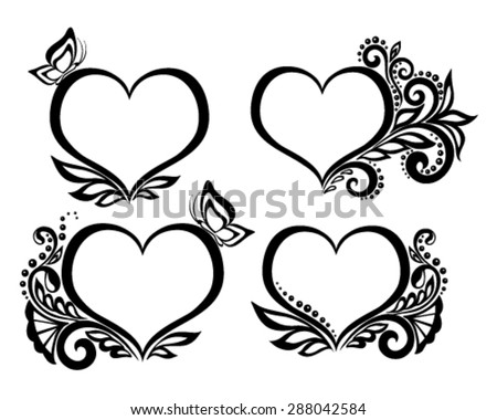 Set of beautiful black-and-white symbol of a heart with floral design and butterfly.  for greeting cards and invitations of wedding, birthday, Valentine's Day, mother's day and other seasonal holiday - stock vector