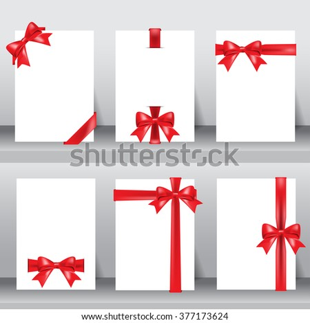 Set of beautiful cards. red ribbons on white background. can be use for birthday, holiday, christmas greeting and invitation events card. layout template in A4 size. vector illustration