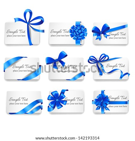 Set of beautiful cards with blue gift bows with ribbons. Vector illustration. - stock vector