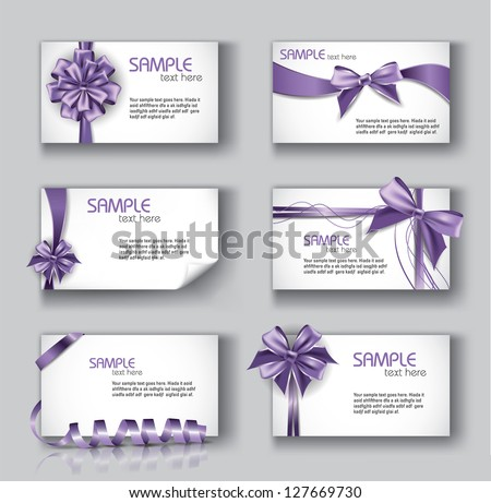 Set of Beautiful Cards With Purple Gift Bows And Ribbons. Vector Design. - stock vector