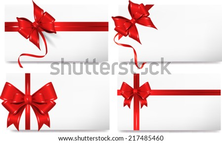 Set of beautiful cards with red gift bows.