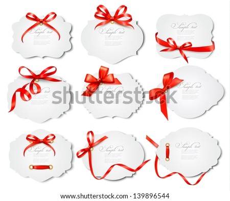 Set of beautiful cards with red gift bows with ribbons. Vector - stock vector
