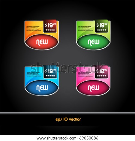 Set of beautiful colored labels and tags for sale - stock vector