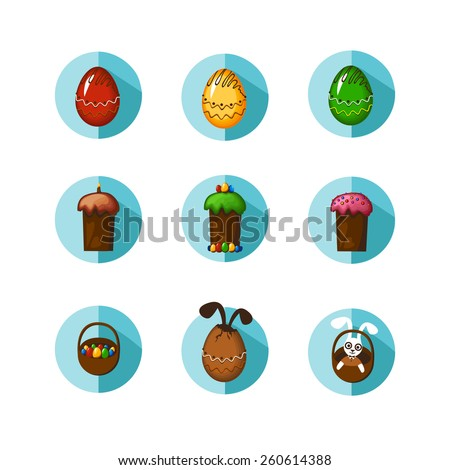 Set of beautiful colorful easter icons or stickers, isolated on white. - stock vector