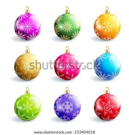 Set of beautiful colorful glass Christmas balls, isolated on white background. Festive decoration, element of design. Vector illustration - stock vector