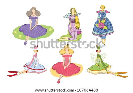 set of beautiful cute girls and dolls in dresses, isolated