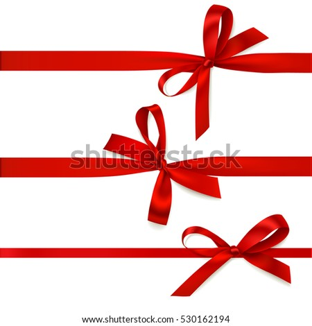 Set of beautiful decorative bows with horizontal ribbon for gift decoration. Vector red bow isolated on white
