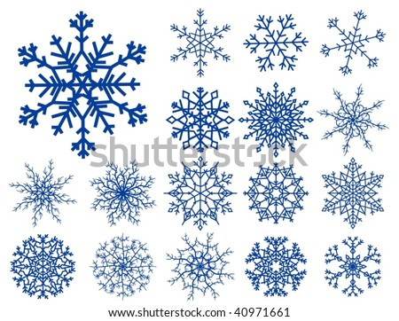 Set of beautiful different snowflakes isolated on white - vector