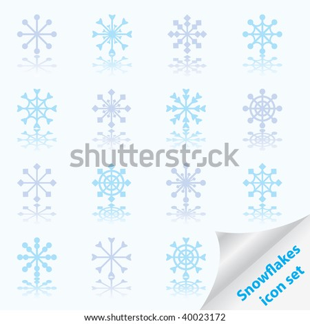 Set of beautiful different snowflakes. Vector illustration. - stock vector