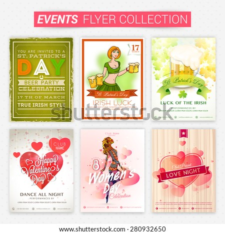 Set of beautiful events flyers and banners for party celebration. - stock vector