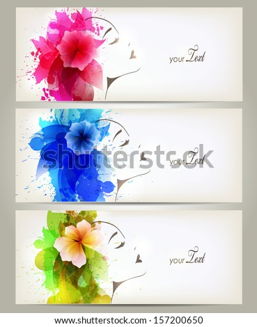Set of Beautiful fashion women with abstract colorful flowers and blots. - stock vector