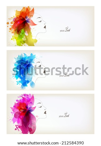 Set of Beautiful fashion women with abstract colorful flowers and blots - stock vector
