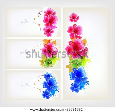 Set of Beautiful fashion women with abstract colorful flowers and poppy. - stock vector