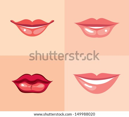 Set of beautiful female lips with different makeup. Vector illustration. - stock vector