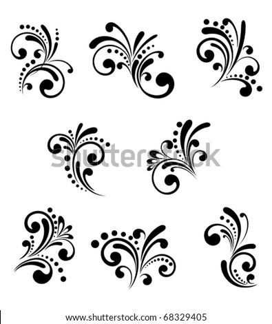 Set of beautiful floral elements isolated on white. Jpeg version also available - stock vector
