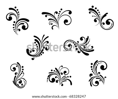 Set of beautiful floral elements isolated on white. Jpeg version also available in gallery - stock vector