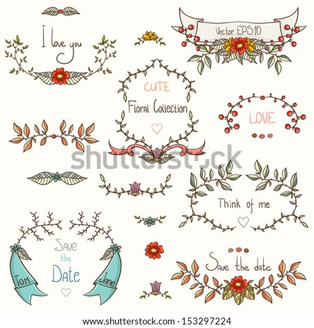 Set of beautiful flourish frames and dividers. - stock vector