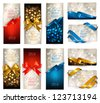 Set of beautiful Gift cards with color gift bows with ribbons. - stock photo