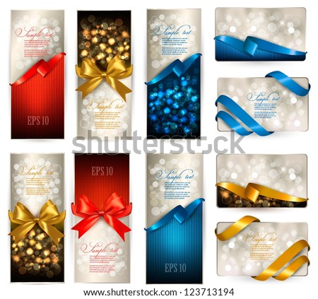 Set of beautiful Gift cards with color gift bows with ribbons. - stock vector