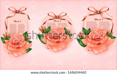 Set of beautiful gift cards with pastel roses and gift bows, may be used for Women's Day - stock vector