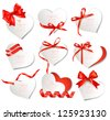 Set of beautiful gift cards with red gift bows and hearts. Valentine's day. Vector illustration. - stock vector