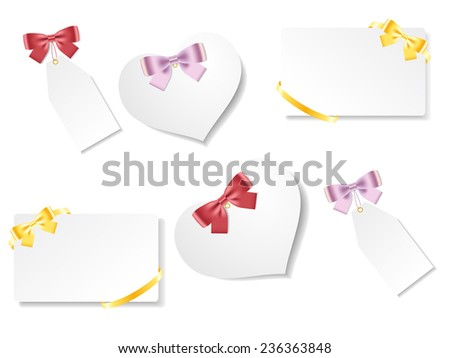 Set of beautiful gift cards with red, gold, pink bows with ribbons. Vector illustration - stock vector