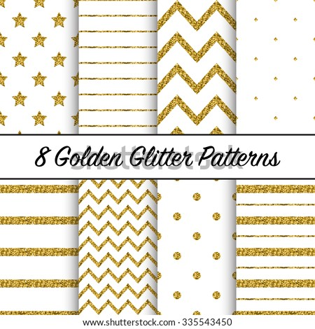 Set of beautiful golden glitter patterns for different festive designs - stock vector