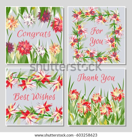 Set beautiful greeting cards exotic tropical stock vector 603258623 set of beautiful greeting cards with exotic tropical flowers placed in grass or twisted into frames m4hsunfo