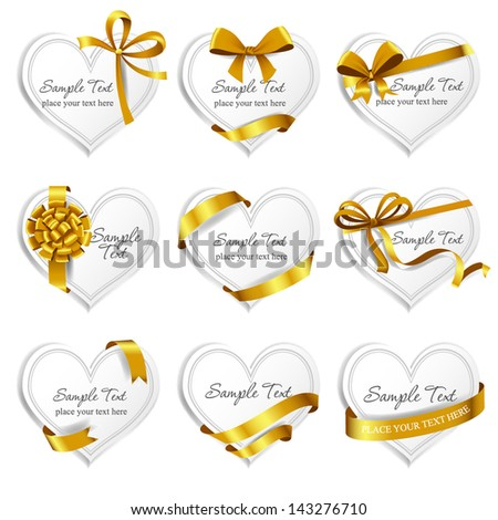 Set of beautiful heart-shaped cards with gold gift bows with ribbons. Vector illustration. - stock vector