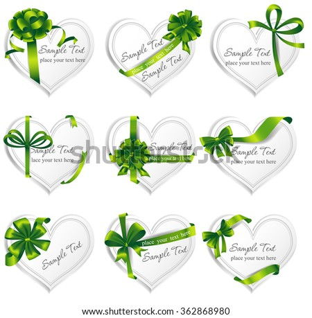 Set of beautiful heart-shaped cards with green gift bows with ribbons.  - stock vector