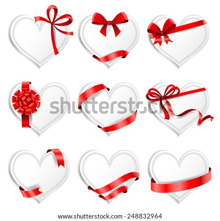 Set of beautiful heart-shaped cards with red gift bows with ribbons. Vector illustration - stock vector