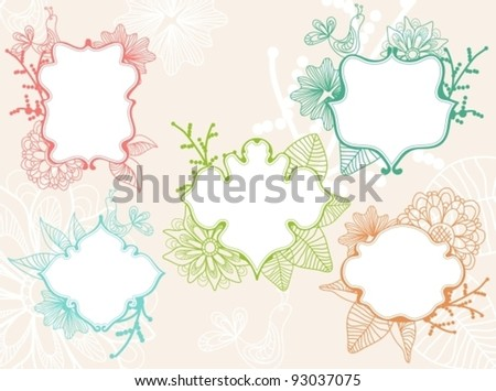 Set of beautiful labels with floral elements, vector - stock vector