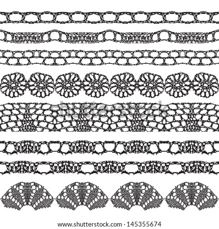 Set of beautiful lace vector trims. Can be used for use with backgrounds or scrap-booking.