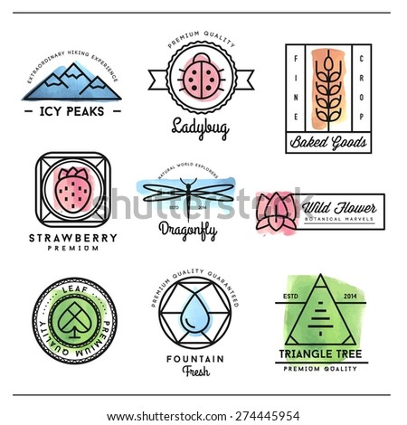 set of beautiful nature inspired, watercolor geometric logos and badges, vector illustration  - stock vector