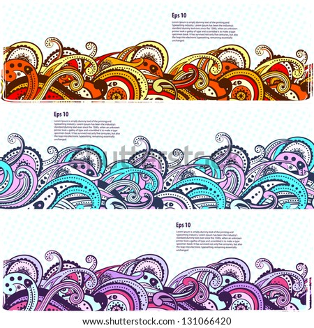 Set of Beautiful paisley banners - stock vector