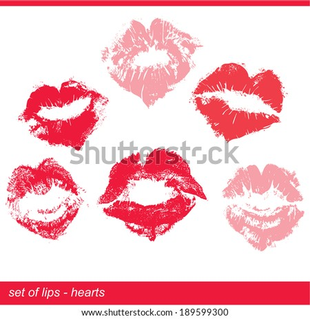 Set of beautiful red lips in heart shape print on isolated white background - stock vector