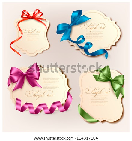 Set of beautiful retro cards with colorful gift bows with ribbons. Vector illustration. - stock vector