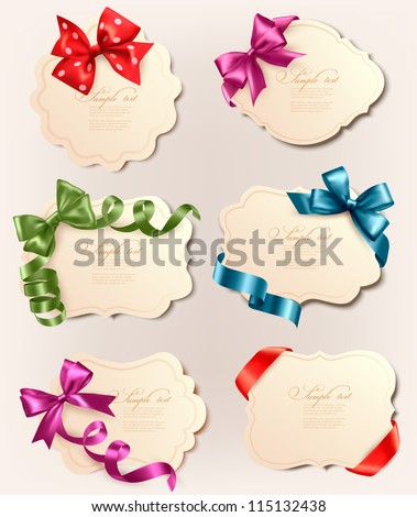Set of beautiful retro labels with colorful gift bows with ribbons. Vector illustration. - stock vector
