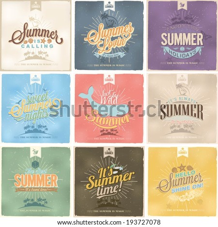 Set Of Beautiful Vintage Seaside View Poster. Vector background. With Typography - stock vector