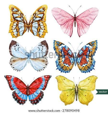 Set of beautiful watercolor butterflies, vector illustration - stock vector
