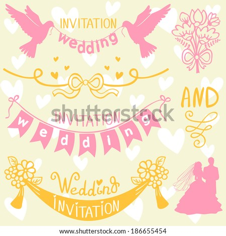 Set of beautiful wedding elements for design - stock vector
