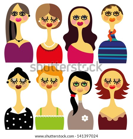 Set of beautiful woman faces with different hair styles and different clothes.vector. - stock vector