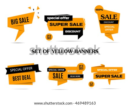 Set of beautiful yellow sale discount and promotion banners. Banner elements collection. Label set. Sale tag, sale poster, sale elements. Banner design. Banner set. Banner website. Vector, eps 10