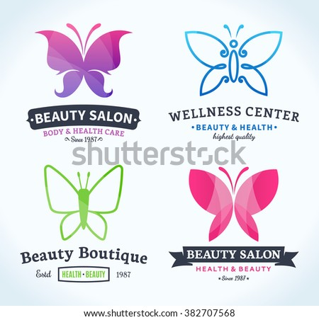 Set of beauty and health logos. Beauty salon and health care branding identity. Butterfly icons for beauty salons, health care, cosmetics and spa. Beauty care label design. - stock vector