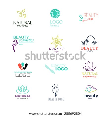 Set of beauty industry and fashion logo. Identity for beauty, ecological cosmetics business, natural beauty centers, spa salons. May be used for wellness centers, yoga, medicine companies and clinics. - stock vector