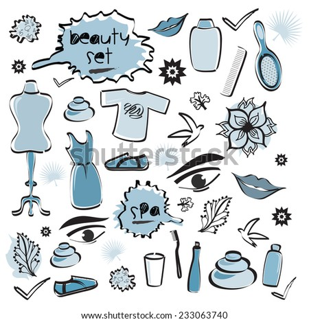 Set of Beauty Items / Spa / Fashion Doodles Blue Colors - stock vector