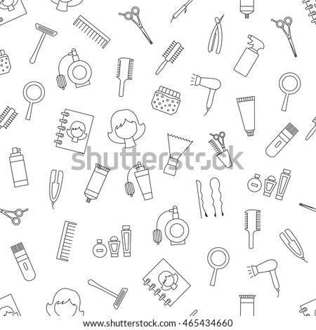 Set of Beauty saloon pattern black icons